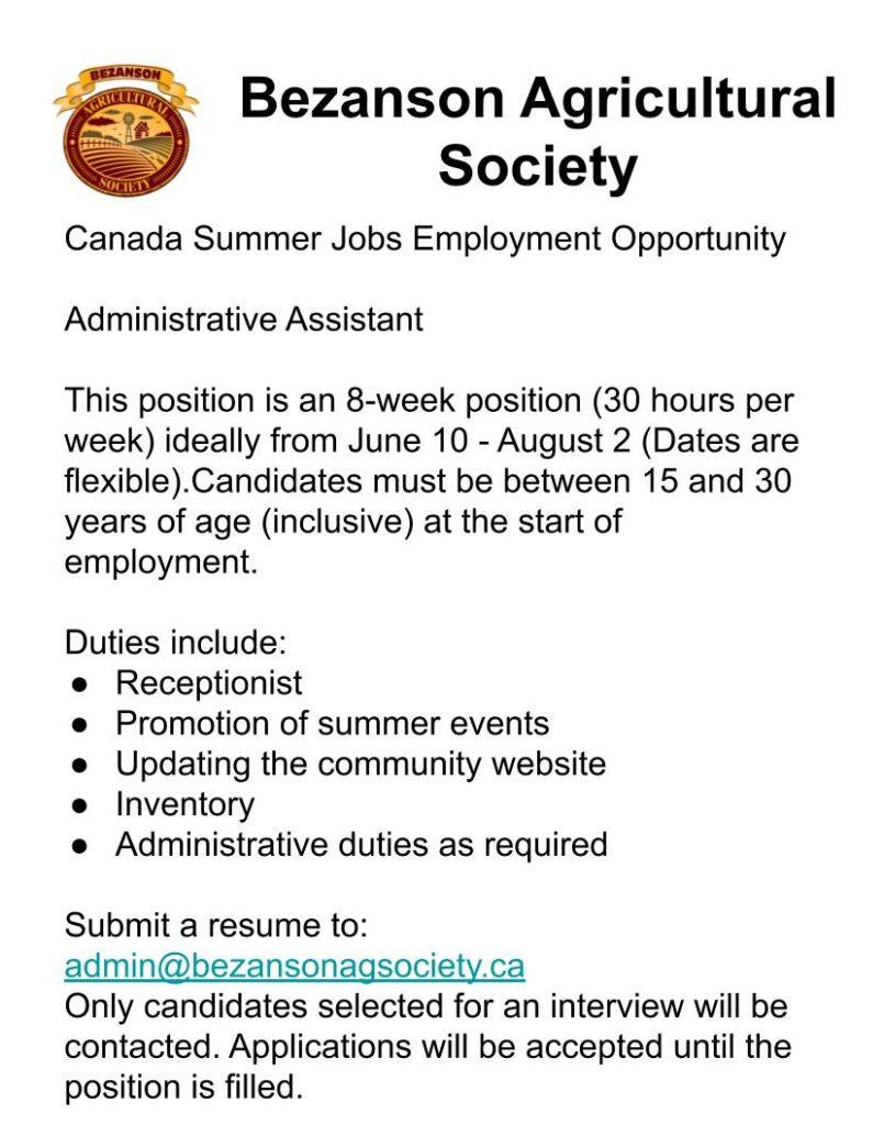 Bezanson Agricultural Society Canada Summer Job Employment